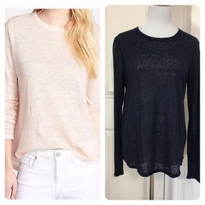 NWT! Vince Navy Long Sleeve Linen Tee tee top